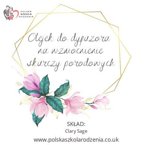 etykieta olejek na wzmocnienie skurczy Polska Szkoła Rodzenia w UK