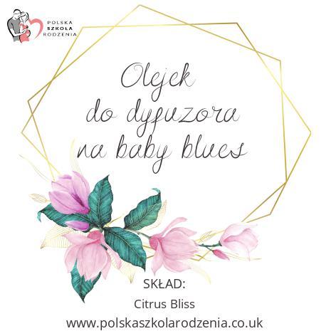 etykieta olejek na baby blues Polska Szkoła Rodzenia w UK