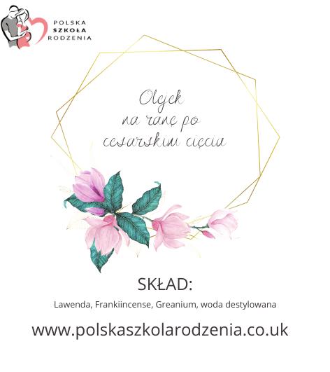 etykieta olejek na ranę po cc Polska Szkoła Rodzenia w UK