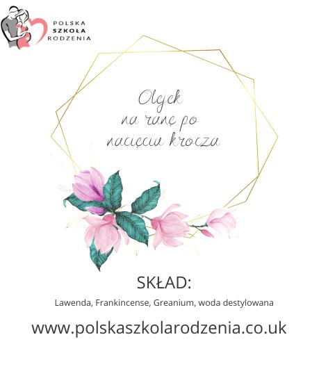 etykieta olejek na ranę krocza Polska Szkoła Rodzenia w UK