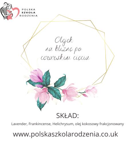 etykieta olejek na bliznę po cc Polska Szkoła Rodzenia w UK