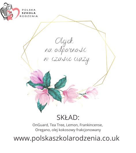 etykieta olejek na odporność w ciąży Polska Szkoła Rodzenia w UK
