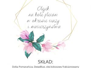 etykieta olejek na ból pleców w ciąży i na macierzyństwo Polska Szkoła Rodzenia w UK