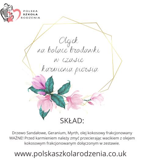 etykieta olejek na bolące brodawki Polska Szkoła Rodzenia w UK